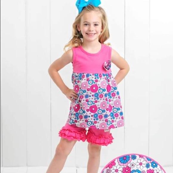 Ruffle Girl Other - Ruffle Girl Mia Print & Hot Pink Ruffle Short Set
